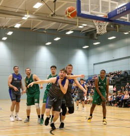 Moycullen v Maree Super League Basketball game at the Kingfisher, NUI Galway. Maree's Charlie Crowley, Sean Sellers and Paul Freeman, and Moycullen's Dylan Cunningham, Patrick Lyons and Isaiah Harris Winn