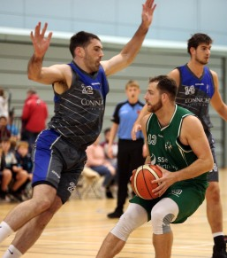 Moycullen v Maree Super League Basketball game at the Kingfisher, NUI Galway. Dylan Cunningham, Moycullen, and Paul Freeman, Maree