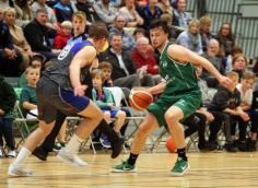 Moycullen v Maree Super League Basketball game at the Kingfisher, NUI Galway. Moycullen's Patrick Lyons, and Stephen Commins, Maree