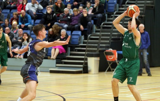 Moycullen v Maree Super League Basketball game at the Kingfisher, NUI Galway. Moycullen's Patrick Lyons, and Maree's John Burke.