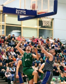 Moycullen v Maree Super League Basketball game at the Kingfisher, NUI Galway. Moycullen's Patrick Lyons, and Maree's Paul Freeman
