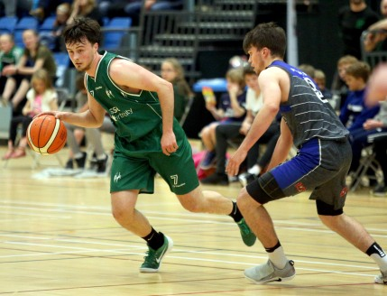 Moycullen v Maree Super League Basketball game at the Kingfisher, NUI Galway. Moycullen's Patrick Lyons, and Maree's Eoin Rockall