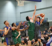 Moycullen v Maree Super League Basketball game at the Kingfisher, NUI Galway. Eoin Rockall, Maree, and Cian Nihill, Moycullen