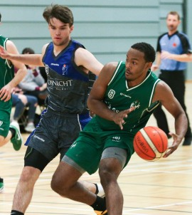 Moycullen v Maree Super League Basketball game at the Kingfisher, NUI Galway. Moycullen's Isaiah Harris-Winn, and Maree's Eoin Rockall