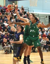 Moycullen v Maree Super League Basketball game at the Kingfisher, NUI Galway. Joseph Tummon and Isaiah Harris-Winn, Moycullen, and Paul Freeman, Maree