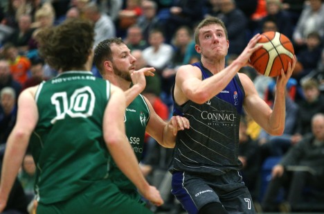 Moycullen v Maree Super League Basketball game at the Kingfisher, NUI Galway. Maree's Sean Sellers and Moycullen's Dylan Cunningham