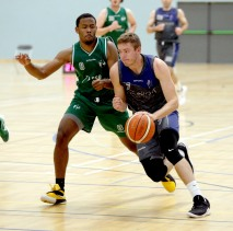 Moycullen v Maree Super League Basketball game at the Kingfisher, NUI Galway. Maree's Sean Sellers and Moycullen's Isaiah Harris-Winn