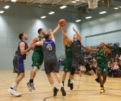 Moycullen v Maree Super League Basketball game at the Kingfisher, NUI Galway. Moycullen's Dylan Cunningham, Patrick Lyons (hidden) and Isaiah Harris-Winn, and Maree's Paul Freeman, Charlie Crowley and Sean Sellers