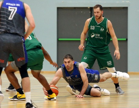 Moycullen v Maree Super League Basketball game at the Kingfisher, NUI Galway. Maree's Paul Freeman and Moycullen's Dylan Cunningham