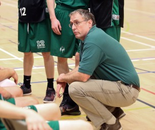 Moycullen v Maree Super League Basketball game at the Kingfisher, NUI Galway. Moycullen head coach, John Cunningham.