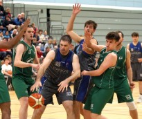 Moycullen v Maree Super League Basketball game at the Kingfisher, NUI Galway. Maree's Paul Freeman and 14, and Moycullen's Joseph Tummon, Paul KellyDylan Cunningham