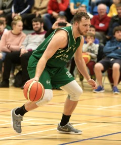 Moycullen v Maree Super League Basketball game at the Kingfisher, NUI Galway. Dylan Cunningham, Moycullen