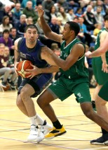 Moycullen v Maree Super League Basketball game at the Kingfisher, NUI Galway. Maree's Paul Freeman and Moycullens Isaiah Harris-Winn