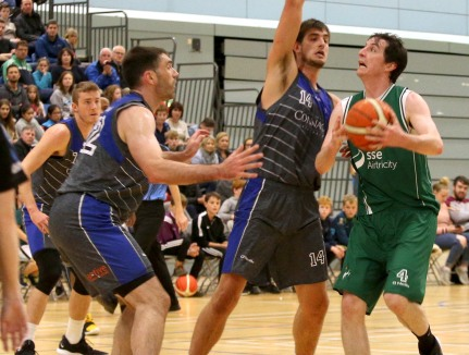 Moycullen v Maree Super League Basketball game at the Kingfisher, NUI Galway. Moycullen's Cian Nihill and Maree's Niels Bunschon and Paul Freeman