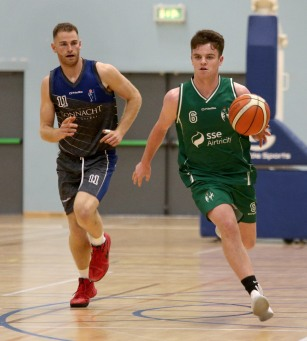 Moycullen v Maree Super League Basketball game at the Kingfisher, NUI Galway. Moycullen's Paul Kelly and Maree's John Burke
