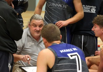 Moycullen v Maree Super League Basketball game at the Kingfisher, NUI Galway. Maree head coach, Mike Lynch.