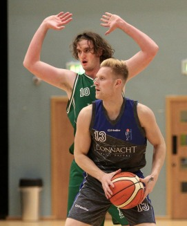 Moycullen v Maree Super League Basketball game at the Kingfisher, NUI Galway. Toms Fabricuss, Maree and Joseph Tummon, Moycullen